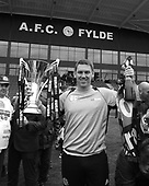 29/04/2017 National League North AFC Fylde v Worcester City<br /> <br /> AFC Fylde manager, Dave Challinor, celebrates with the League Championship trophy
