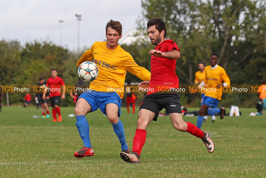 Mile End (yellow/blue) vs Riviera, Hackney & Leyton Sunday League Football at Hackney Marshes on 25th September 2016