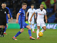 Cardiff City's Joe Ralls under pressure from Bolton Wanderers' Karl Henry<br /> <br /> Photographer Kevin Barnes/CameraSport<br /> <br /> The EFL Sky Bet Championship - Cardiff City v Bolton Wanderers - Tuesday 13th February 2018 - Cardiff City Stadium - Cardiff<br /> <br /> World Copyright &copy; 2018 CameraSport. All rights reserved. 43 Linden Ave. Countesthorpe. Leicester. England. LE8 5PG - Tel: +44 (0) 116 277 4147 - admin@camerasport.com - www.camerasport.com
