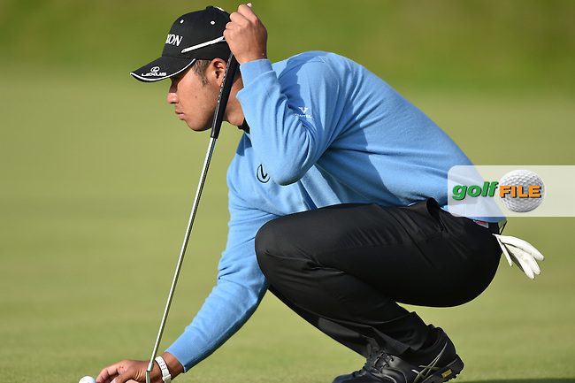 Hideki Matsuyana (JPN)  on the 18th during the finish of the second round on Saturday evening of the 144th Open Championship, St Andrews Old Course, St Andrews, Fife, Scotland. 18/07/2015.<br /> Picture: Golffile   Fran Caffrey<br /> <br /> <br /> All photo usage must carry mandatory copyright credit <br /> (&copy; Golffile   Fran Caffrey)