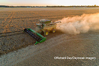 63801-13312 Harvesting soybeans at sunset in fall-aerial  Marion Co. IL
