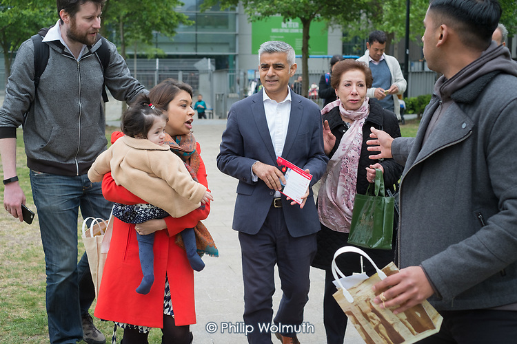 Tulip Siddiq with her daughter Azalea and London Mayor Sadiq Khan at the launch of her campaign to retain Hampstead and Kilburn, the tenth most marginal Labour parliamentary seat in the UK.  Swiss Cottage, London.