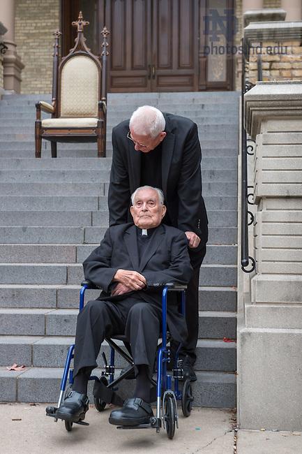 Oct. 13, 2014; Rev. Theodore M. Hesburgh, C.S.C. and Rev. Edward 'Monk' Malloy, C.S.C.. (Photo by Matt Cashore/University of Notre Dame)