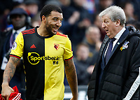7th March 2020; Selhurst Park, London, England; English Premier League Football, Crystal Palace versus Watford; Troy Deeney of Watford talking to Crystal Palace Manager Roy Hodgson after full time