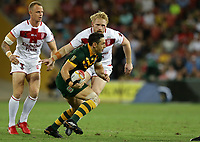 Australia's Billy Slater is tackled by England's James Graham during the Rugby League World Cup final between Australia and England, Suncorp Stadium, Brisbane, Australia, 2 December 2017. Copyright Image: Tertius Pickard / www.photosport.nz MANDATORY BYLINR/CREDIT : Tertius Pickard/SWpix.com/PhotosportNZ