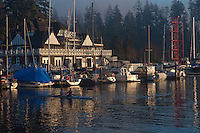 Rowers leaving boat house, Stanly park, English bay.Vancouver,British Colombia, Canada