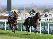 14h April 2018, Aintree Racecourse, Liverpool, England; The 2018 Grand National horse racing festival sponsored by Randox Health, day 3; Tom Scudamore on Mr Big Shot runs on to win The Gaskells Handicap Hurdle with Tom O'Brien on NowMcGinty coming in second