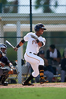 GCL Pirates outfielder Edison Lantigua (31) at bat during the first game of a doubleheader against the GCL Yankees 2 on July 31, 2015 at the Pirate City in Bradenton, Florida.  GCL Pirates defeated the GCL Yankees 2 2-1.  (Mike Janes/Four Seam Images)