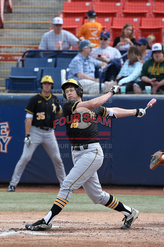 Alec Bohm (18) of the Wichita State Shockers bats against the Cal State Fullerton Titans at Goodwin Field on March 13, 2016 in Fullerton, California. Cal State Fullerton defeated Wichita State, 7-1. (Larry Goren/Four Seam Images)