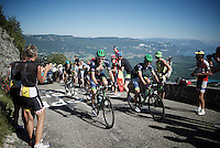 Luke Durbridge (AUS/Orica-BikeExchange) &amp; Michael Matthews (AUS/Orica-BikeExchange) up the Lacets du Grand Colombier (Cat1/891m/8.4km/7.6%)<br /> <br /> stage 15: Bourg-en-Bresse to Culoz (160km)<br /> 103rd Tour de France 2016