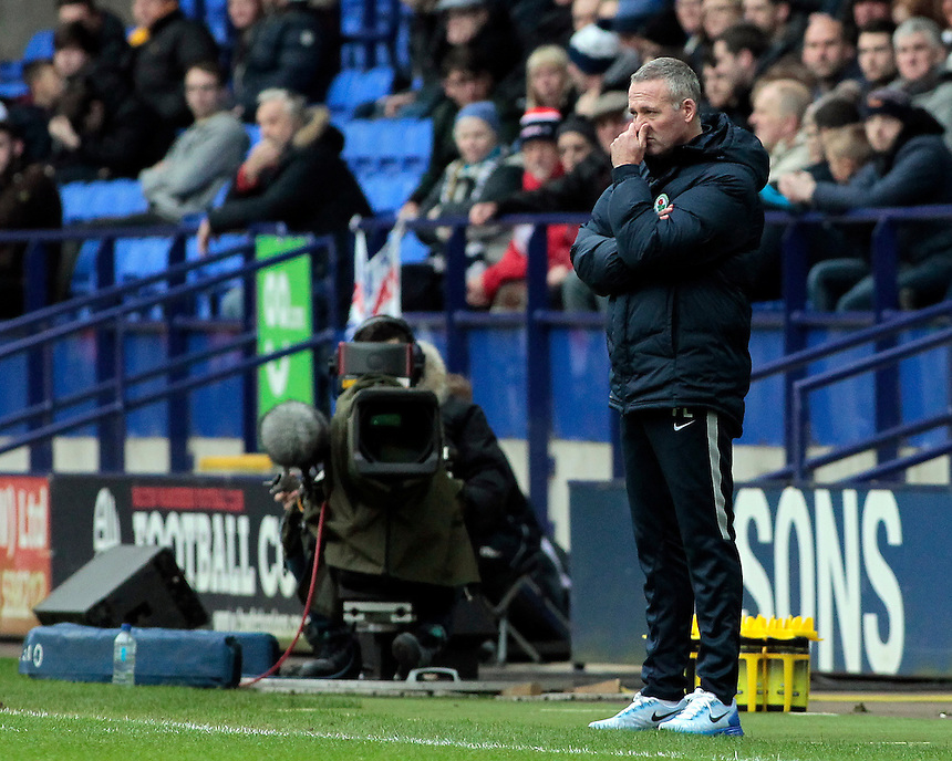 Blackburn Rovers manager Paul Lambert  looks on from the dugout <br /> <br /> Photographer David Shipman/CameraSport<br /> <br /> Football - The Football League Sky Bet Championship - Bolton Wanderers v Blackburn Rovers - Monday 28th December 2015 - Macron Stadium - Bolton <br /> <br /> &copy; CameraSport - 43 Linden Ave. Countesthorpe. Leicester. England. LE8 5PG - Tel: +44 (0) 116 277 4147 - admin@camerasport.com - www.camerasport.com