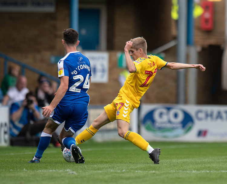 Gillingham's Tom O'Conner  (left) is tackled by Bolton Wanderers' Ronan Darcy (right) <br /> <br /> Photographer David Horton/CameraSport<br /> <br /> The EFL Sky Bet League One - Gillingham v Bolton Wanderers - Saturday 31st August 2019 - Priestfield Stadium - Gillingham<br /> <br /> World Copyright © 2019 CameraSport. All rights reserved. 43 Linden Ave. Countesthorpe. Leicester. England. LE8 5PG - Tel: +44 (0) 116 277 4147 - admin@camerasport.com - www.camerasport.com