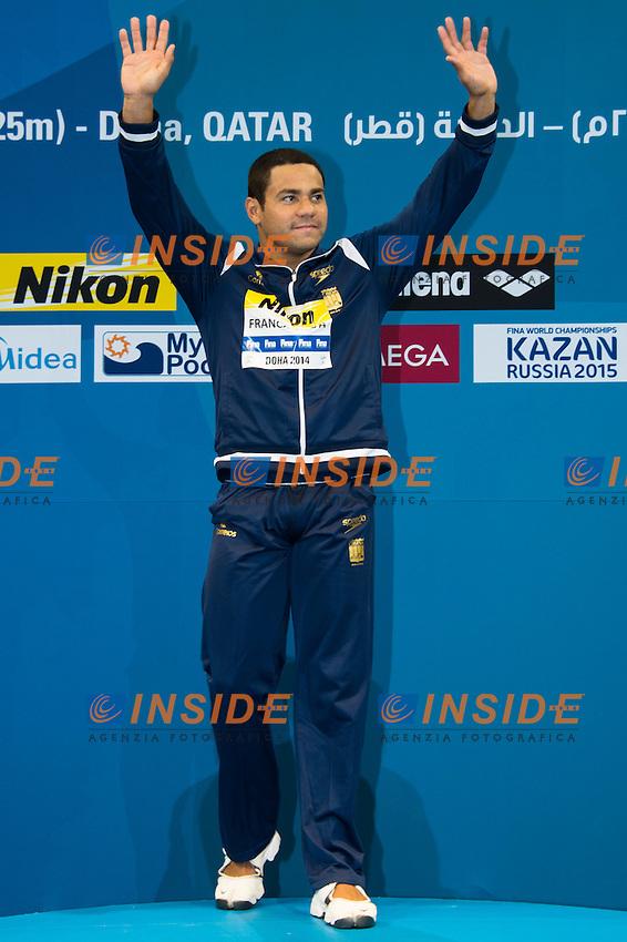 FRANCA SILVA Felipe BRA Gold Medal<br /> Men's 100m Breaststroke Final<br /> Doha Qatar 04-12-2014 Hamad Aquatic Centre, 12th FINA World Swimming Championships (25m). Nuoto Campionati mondiali di nuoto in vasca corta.<br /> Photo Giorgio Scala/Deepbluemedia/Insidefoto