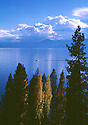 Lake Tahoe Landscape, Lake Tahoe Clear Water and Power Boat