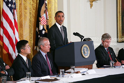 United States President Barack Obama delivers remarks at the President's Export Council meeting in the East Room of the White House in Washington, D.C. on Thursday, September 16, 2010.  On hand for the meeting was Boeing CEO James McNerney Jr., Xerox Chairman and CEO Ursula Burns, U.S. Secretary of Agriculture Tom Vilsack, US Secretary of Commerce Gary Locke, Senior Advisor Valerie Jarrett, and other business leaders.  .Credit: Gary Fabiano / Pool via CNP