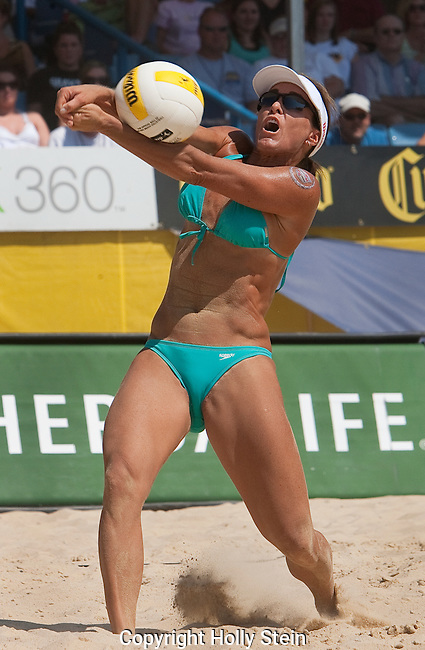 Holly McPeak digs the ball during the AVP Cincinnati Open.