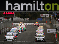 The drivers wait for the start of Race Two during Day Three of the Hamilton 400 Aussie V8 Supercars Round Two at Frankton, Hamilton, New Zealand on Sunday, 19 April 2009. Photo: Dave Lintott / lintottphoto.co.nz