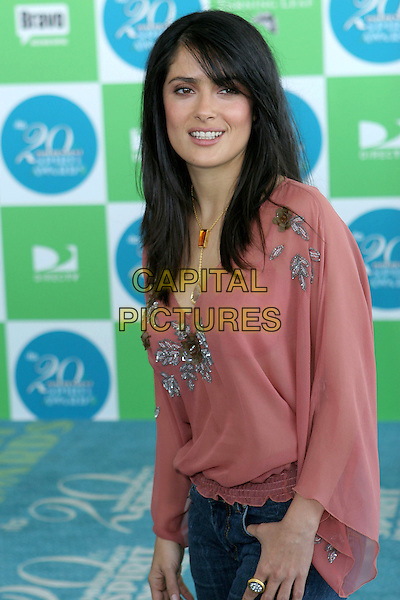 SALMA HAYEK.20th Annual IFP Independent Spirit Awards held on Santa Monica Beach. .February 26th, 2005.Photo credit: Jacqui Wong/AdMedia.half length pink top sheer chiffon floral print ring.www.capitalpictures.com.sales@capitalpictures.com.© Capital Pictures.