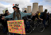 Climate activists take direct action against the coal fired power station at Ratcliffe on Soar, south of Nottingham. The power station, owned by E.ON, is the third largest emitter of greenhouse gases in the UK.
