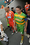 14 May 2010: Tampa Bay's Julian Valentin (right) and Carolina's Matt Bobo (left) enter the field before the game. The FC Tampa Bay Rowdies defeated the Carolina RailHawks 2-1 at WakeMed Stadium in Cary, North Carolina in a regular season U.S. Soccer Division-2 soccer game.