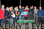 WINNING OWNER: Louise O'Neill owner of Praematurus Top Dog in the 2008 Paddy Byrne Memorial Sweepstake Final being presented with the Winners Trophy by Mary Byrne at the Kingdom Greyhound Stadium on Friday l-r: John Ward, Asling Quinn, Christine, Pat and Josephine O'Connor, Dick O'Sullivan, Pat and Tom O'Connor (Trainers), Mary and Patsy Byrne, Lousie O'Neill (Owner), Kieran Casey, Mossy O'Carroll and Padraig O'Connor.    Copyright Kerry's Eye 2008