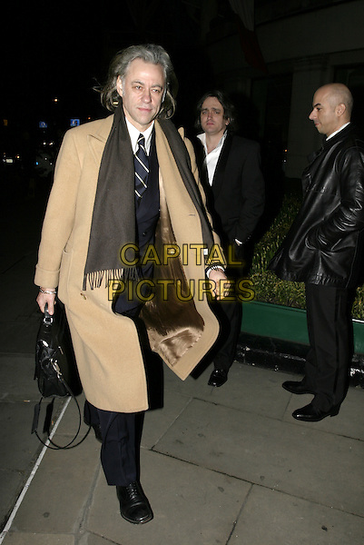 BOB GELDOF.The RTS Programme Awards at Grosvenor House.Royal Television Society Awards.March 15th, 2005.full length brown scarf beige coat jacket walking.www.capitalpictures.com.sales@capitalpictures.com.© Capital Pictures.