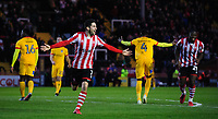 Lincoln City's Tom Pett celebrates scoring his side's second goal<br /> <br /> Photographer Chris Vaughan/CameraSport<br /> <br /> Emirates FA Cup First Round - Lincoln City v Northampton Town - Saturday 10th November 2018 - Sincil Bank - Lincoln<br />  <br /> World Copyright &copy; 2018 CameraSport. All rights reserved. 43 Linden Ave. Countesthorpe. Leicester. England. LE8 5PG - Tel: +44 (0) 116 277 4147 - admin@camerasport.com - www.camerasport.com