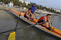 San Remo, ITALY, Arklow Club, from Ireland, prepare to boat for the Sunday open competition,  2008 FISA Coastal World Championships. Sunday 19/10/2008. [Photo, Peter Spurrier/Intersport-images] Coastal Rowing Course: San Remo Beach, San Remo, ITALY Equipment,