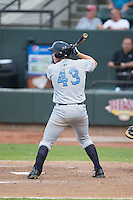 Frank Schwindel (43) of the Wilmington Blue Rocks at bat against the Winston-Salem Dash at BB&T Ballpark on June 10, 2015 in Winston-Salem, North Carolina.  The Blue Rocks defeated the Dash 11-5.  (Brian Westerholt/Four Seam Images)