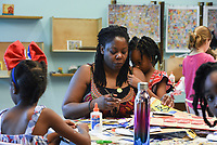 NWA Democrat-Gazette/CHARLIE KAIJO Image from a drop-in art making class, Sunday, July 7, 2019 at Crystal Bridges Museum in Bentonville. <br /> <br /> Guest artist, Michael Albert, showed guests how to make art using upcycled cardboard from discarded consumer packaging. The New York native is on a multi-state tour.