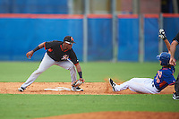 Miami Marlins second baseman Ronal Reynoso (8) tags out Gene Cone (76) sliding into second during an Instructional League game against the New York Mets on September 29, 2016 at the Port St. Lucie Training Complex in Port St. Lucie, Florida.  (Mike Janes/Four Seam Images)