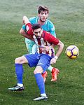 Atletico de Madrid's Yannick Ferreira Carrasco (f) and FC Barcelona's Sergi Roberto during La Liga match. February 26,2017. (ALTERPHOTOS/Acero)