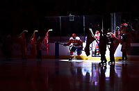WASHINGTON, DC - APRIL 06: Washington Capitals left wing Alex Ovechkin (8) jumps onto the ice while spot lit before the New York Islanders vs. the Washington Capitals NHL game April 6, 2019 at Capital One Arena in Washington, D.C.. (Photo by Randy Litzinger/Icon Sportswire)
