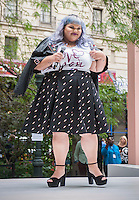 "Fashion designer Ashley Nell Tipton introduces her fashion show of clothing for plus sized women in Greeley Square in New York on Tuesday, September 6, 2016. Tipton is partnering with the JCPenney in a plus-sized line for JCPenney's ""Boutique+"" brand. Tipton was the winner of season 14 of Project Runway. (© Richard B. Levine)"