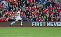 Tornike Okriashvili of Georgia celebrates scoring his side's first goal during the FIFA World Cup Qualifier match between Wales and Georgia at the Cardiff City Stadium, Cardiff, Wales on 9 October 2016. Photo by Mark  Hawkins / PRiME Media Images.