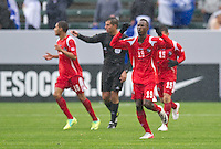 CARSON, CA - March 25, 2012: Manuel Asprilla (19) of Panama celebrates his goal during the Panama vs Trinidad & Tobago match at the Home Depot Center in Carson, California. Final score Panama 1, Trinidad & Tobago 1.