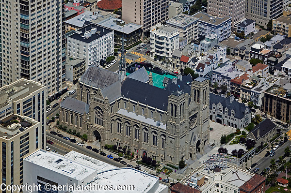 aerial photograph Grace Cathedral San Francisco California