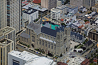 aerial photograph Grace Cathedral, Nob Hill, San Francisco, California