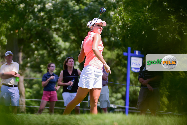 Lexi Thompson (USA) watches her tee shot on 16 during Saturday's round 3 of the 2017 KPMG Women's PGA Championship, at Olympia Fields Country Club, Olympia Fields, Illinois. 7/1/2017.<br /> Picture: Golffile | Ken Murray<br /> <br /> <br /> All photo usage must carry mandatory copyright credit (&copy; Golffile | Ken Murray)
