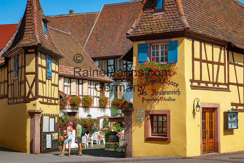 France, Alsace, Haut-Rhin, Éguisheim: Wine-Grower's Estate with tasting room   Frankreich, Elsass, Haut-Rhin, Éguisheim: Weingut mit Probierstube