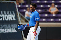 Kumar Rocker (22) of North Oconee High School in Watkinsville, Georgia during the Under Armour All-American Game practice presented by Baseball Factory on July 28, 2017 at Rocky Miller Park in Evanston, Illinois.  (Mike Janes/Four Seam Images)