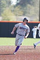 Winston-Salem Dash infielder Toby Thomas (2) running the bases during a game against the Buies Creek Astros at Jim Perry Stadium on the campus of Campbell University on April 9, 2017 in Buies Creek, North Carolina. Buies Creek defeated Winston-Salem 2-0. (Robert Gurganus/Four Seam Images)