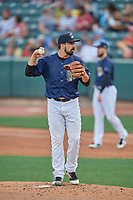 Salt Lake Bees starting pitcher Jason Alexander (10) during a game against the Albuquerque Isotopes at Smith's Ballpark on July 25, 2019 in Salt Lake City, Utah. The Bees defeated the Isotopes 8-3. (Stephen Smith/Four Seam Images)