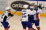09.01.2020, BLZ Arena, Füssen / Fuessen, GER, IIHF Ice Hockey U18 Women's World Championship DIV I Group A, <br /> Daenemark (DEN) vs Frankreich (FRA), <br /> im Bild Torjubel nach 0:2 Siegtreffer, Shana Casanova (FRA, #22), Emma Morel (FRA, #15), Julia Mesplede (FRA, #19), Lucie Quarto (FRA, #7)<br /> <br /> Foto © nordphoto / Hafner
