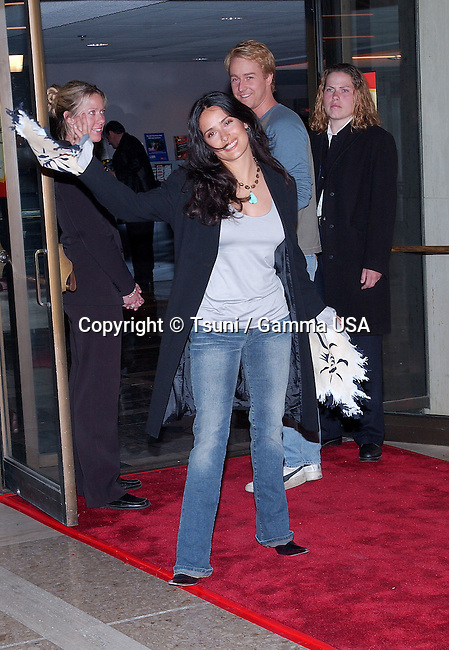 Salma Hayek and Ed Norton arriving at the premiere of Panic Room at the Loews Century Theatre in Los Angeles. March 18, 2002.