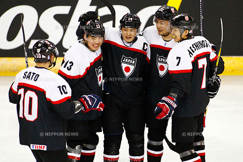 (L-R) Sho Sato, Yuri Terao, Go Tanaka, Goshi Kumagai, Ryo Hashimoto (JPN), APRIL 26, 2017 - Ice Hockey : IIHF World Championship Division I Group B game between Japan 6-2 Estonia at SSE Arena in Belfast, Great Britain.<br /> <br /> (Photo by Reiji Nagayama/AFLO)