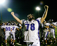Senior Joe Breithaupt (78) celebrates after the Battlefield Bobcats overcame a 20 point deficit and defeated the Fauquier Falcons 23-20 in overtime Saturday 10-27-07 at Kip Hull Field in Bealeton, VA.