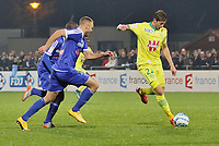Pictured: Emiliano Sala (R) playing for Nantes during a Coupe de la Ligue game.<br /> Re: It is believed that Premier League footballer Emiliano Sala was on a flight which disappeared between France and Cardiff.<br /> The Argentine striker was one of two people on board the Piper Malibu, which disappeared off Alderney on Monday night.<br /> Cardiff City FC, signed the 28-year-old from French club Nantes.<br /> A search is under way.<br /> A Cardiff Airport spokeswoman confirmed the aircraft was due to arrive from Nantes but said there were no further details.<br /> HM Coastguard has sent two helicopters to help.