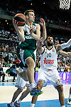 Basketball Real Madrid´s Bourousis (R) and Zalgiris Kaunas´s Dimsa during Euroleague basketball match in Madrid, Spain. October 17, 2014. (ALTERPHOTOS/Victor Blanco)