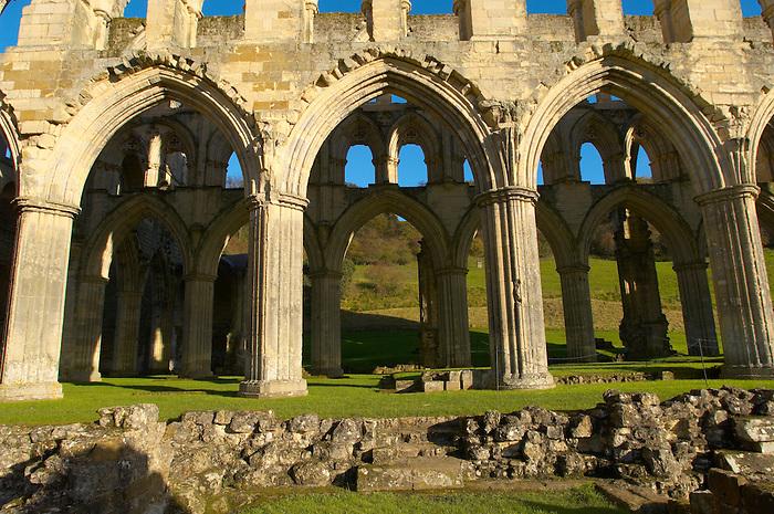 Rievaulx Abbey main aisle arches and windows. North Yorkshire, England